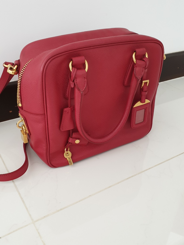 dec916c0ff89 Prada Handbag in Red Saffiano Leather, Luxury, Bags & Wallets, Handbags on  Carousell