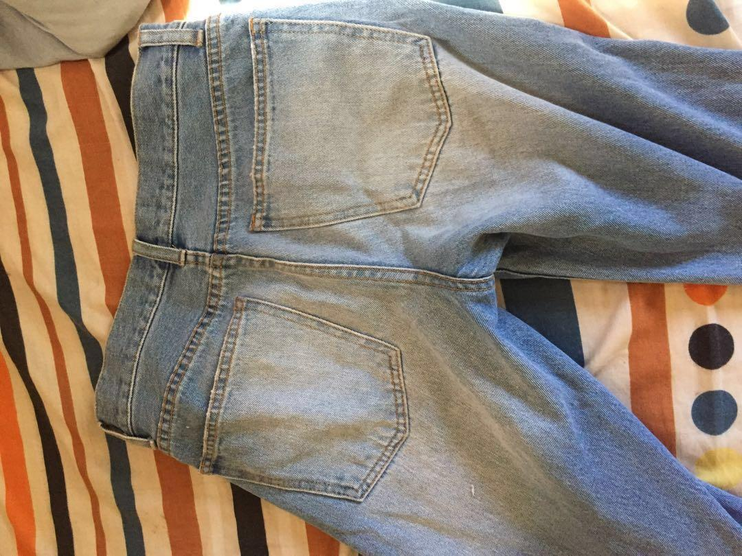 Ripped boyfriend mom style jeans