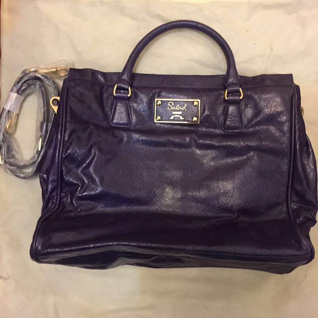 Salad Leather Bag (A4 Size , Purple Colour)