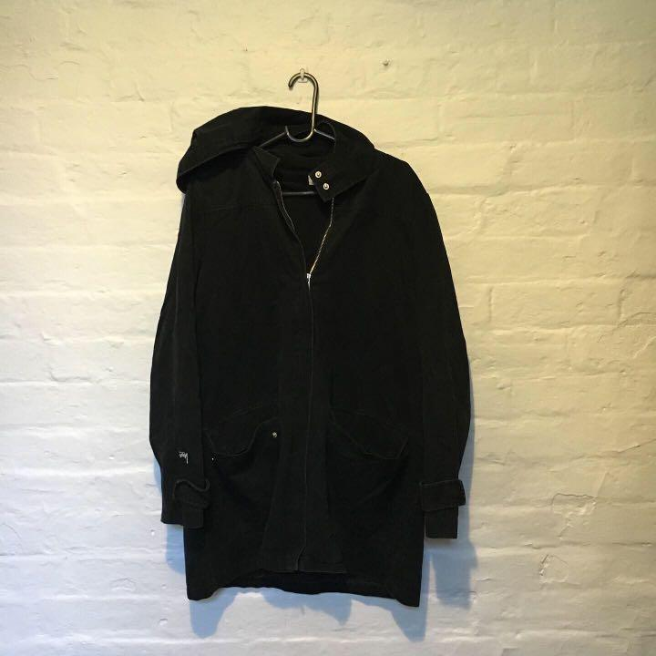 Stüssy Hooded Black Coat | Perfect Jacket for winter