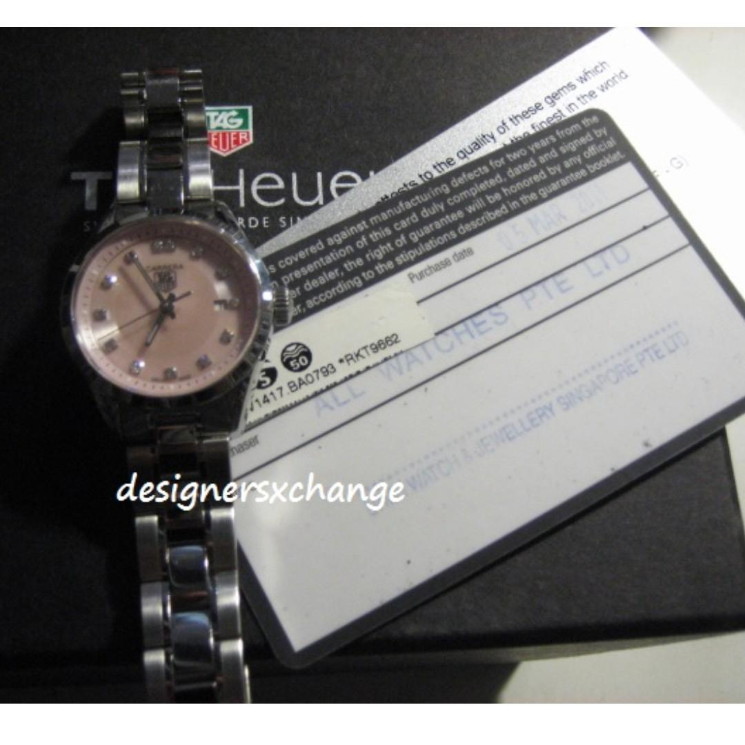 Tag Heuer CARRERA Ladies Bracelet Watch with Diamonds & Date Pink Sapphire Crystal Dial (with certficates & Box)