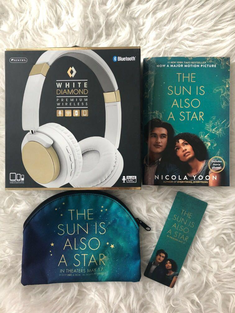 The Sun Is Also A Star set - book, stationary case, book mark, headphones (pick up only)