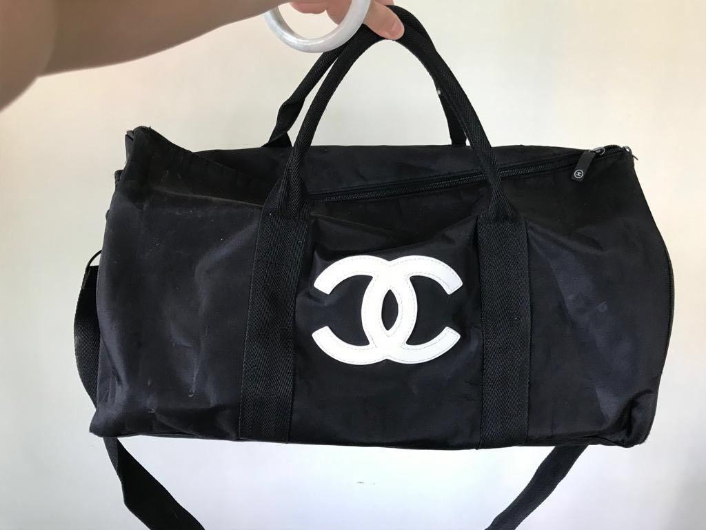 Used Chanel Beaute Duffle Sling Hand Carry Travel Bag 2 way