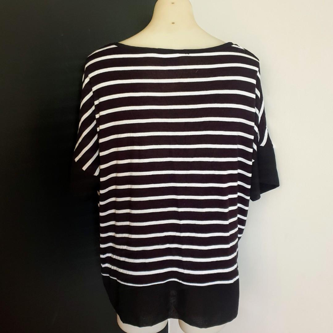 Women's size L 'SEED HERITAGE' Casual black and white striped loose fitting top