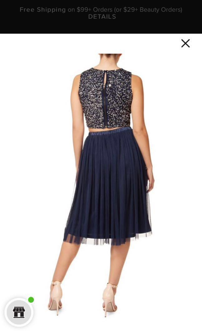 XS Blue and Beige Sequin top and tulle skirt partywear dress
