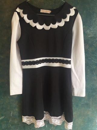 Mididress-dress wanita-korean dress-hitam putih-ukuran XL