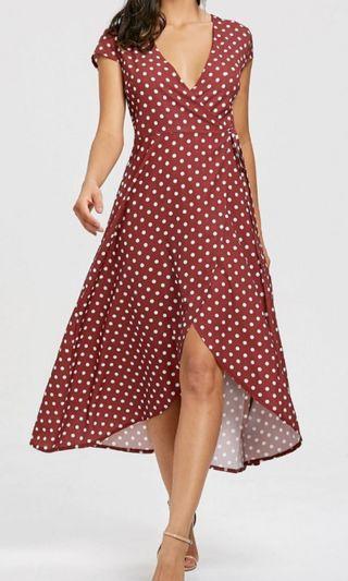 🚚 Polka Dot Slit Wrap Dress