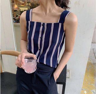[BN] Gracie Stripes Shoulder Strap Top