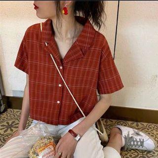 [BN] Gaia Retro Checkered Collar Top