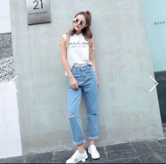 [BN] Knee Slit Ripped High Waist Mom Jeans
