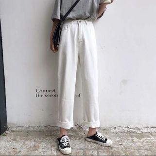 [BN] Ulzzang White Denim High Waist Jeans