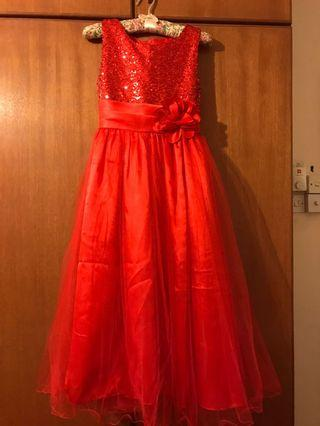 Red Flower girl gown
