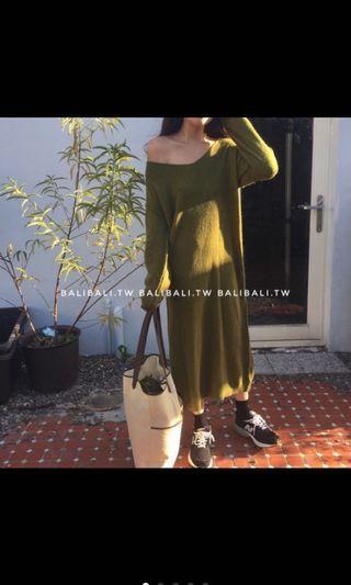 綠色長版毛衣