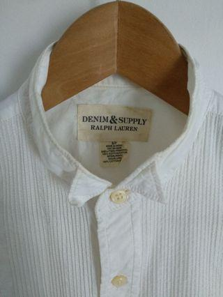 Ralph Lauren Pleated Bib Tuxedo Shirt Long Sleeve