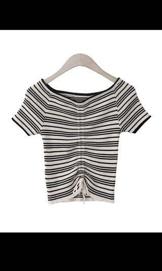 Stripe scrunched knit top