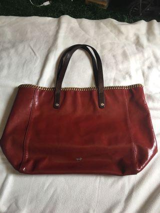 Braun buffel tote bag pattent leather
