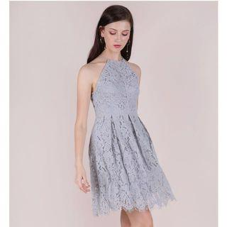 TTR Blossom Halter Lace Dress (Grey)