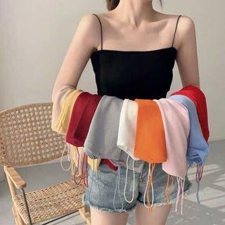 PO : Free Size. Super Sexy And Chic Korean Style Knitted Spaghetti Strap Top