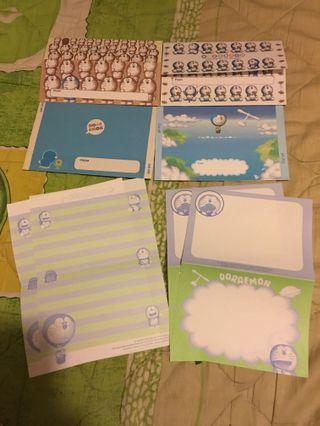 日本製多啦A夢郵簡及信紙套庒