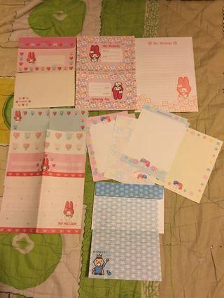 日本製1998My Melody、大口仔、Little Twin Stars 信封信紙