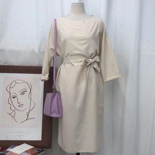 棉麻綁腰連身裙