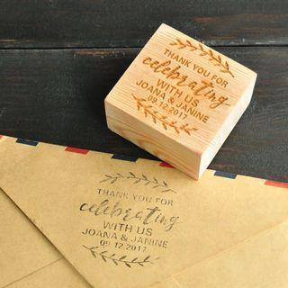 Personalized Wedding Stamp,Wedding Invitation,Thank You for Celebrating with Us Stamp, Wood Stamp