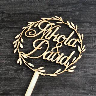 Wedding Cake Topper Wreath Names Wedding Cake Topper, Personalized Wedding Cake Topper