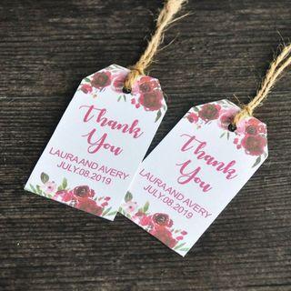 Personalized Thank You Wedding Tags,Wedding Favor Tag (50),Bridal Shower Favor,Custom Wedding Tags,Wedding Gift