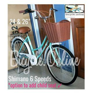 "Harris 24 and 26"" City Bikes * SHIMANO 6Speeds * Brand new bicycles * add $49 to install rear child seat (Taiwan)"