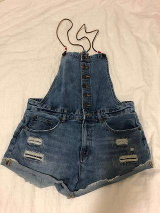 DENIM DUNGAREES W/LEATHER CORD STRAPS