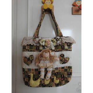 Cute Handmade Green Doll Bag