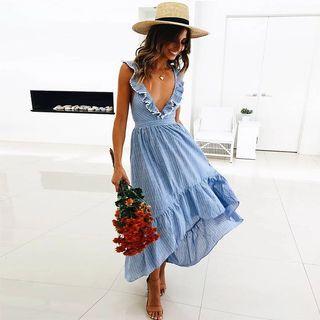 Leir V Neck Maxi Summer Dress