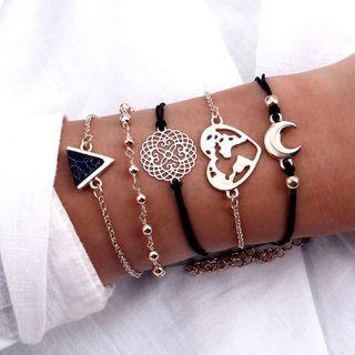 Dark Triangle Love Moon Set Bracelet
