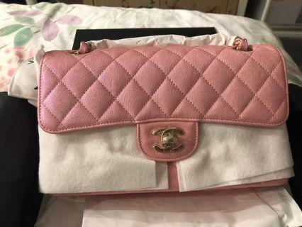 020b5f4c8b2d Bnib Chanel Classic flap in iridescent pink for sale in size small!
