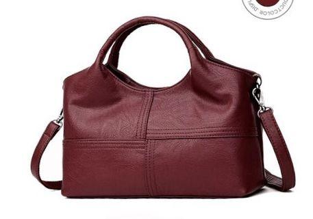 2019 new European, American fashion handbag ladies bag stitching soft leather female shoulder bag sling bag crossbody