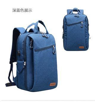 🚚 【Q夫妻】 Camera Bag 單反攝影包 連接USB充電接口 大容量後背包 雙肩包 旅行包 抽屜式 雙層相機包 藍色 #BA1002-3