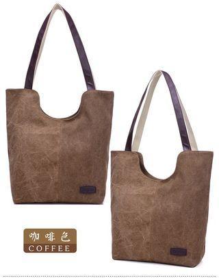 🚚 【Q夫妻】Shoulder Bag 韓版 簡約 大容量 手提包 帆布包 休閒包 單肩包 女包 咖啡色  #B0508-5