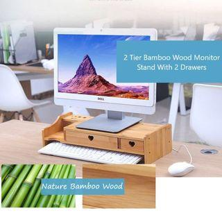 BN Nature Bamboo Wood Double Tier Monitor Stand/Riser With Drawer ( Nature Brown )