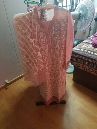 Pakistani lawn suit pink Indian traditional punjabi dress