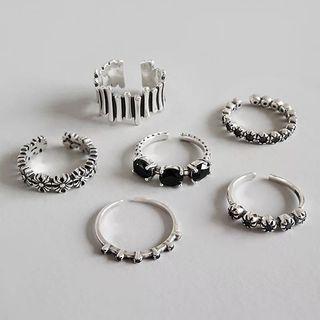 1套5款 925純銀復古戒指 介子 silver Rings