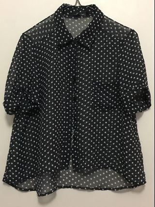 Cropped Mesh Button-up