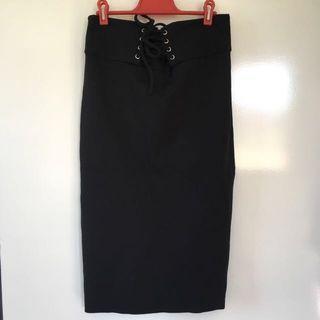 Sportsgirl Black Ponte Midi Skirt S