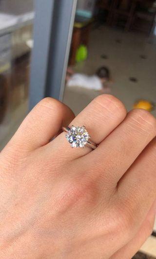 現貨齊碼 1/2/3卡莫桑鑽戒指 人造鑽戒指