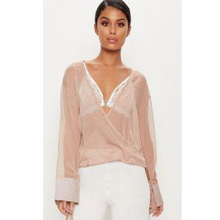 Pretty Little Thing - Sheer Wrap Top