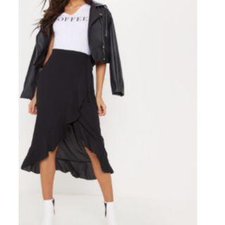 Pretty Little Thing - Black Midi Wrap Skirt