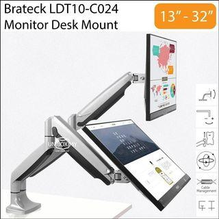 "Brateck LDT10-C024 13""-32"" Inch Dual LCD Monitor VESA Desk Mount Stand"