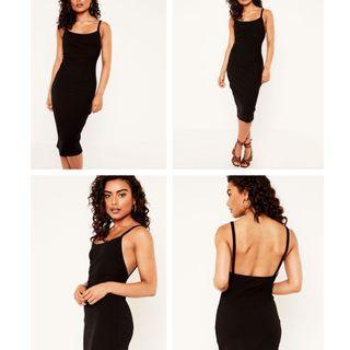 Glassons Black Knit Midi Dress