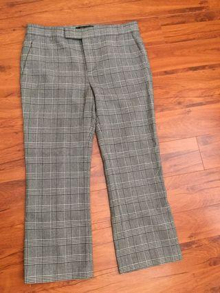 Zara plaid crop flare pants in grey/white/black