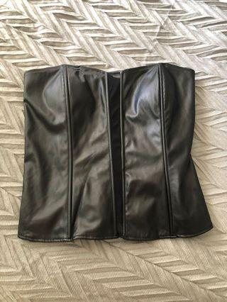 Black leather (fake) corset