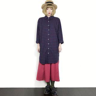 (全新)轉售【Ben cloth】日單.寬鬆百搭純棉長袖格子摩毛襯衫洋裝.單一色(F)